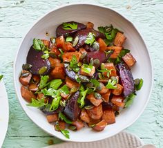 Roasting root vegetables in a sweet balsamic glaze brings out their natural sweetness - finish with herbs and seeds for a sensational side Beetroot And Carrot Salad, Beetroot Recipes, Carrot Recipes, Vegetable Side Dishes, Vegetable Recipes, Vegetarian Recipes, Healthy Recipes, Healthy Food, Veg Dishes