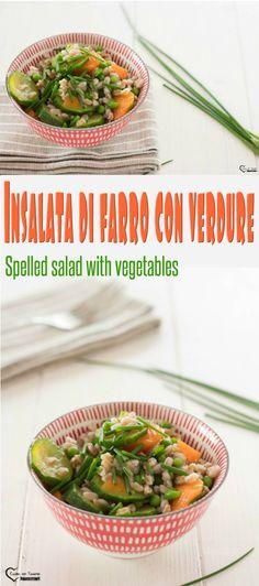 Insalata di farro con verdure, insalata di farro light,  insalata di farro vegan, ricetta vegana, ricetta estiva, piatto freddo, da portare al mare, da portare in ufficio. Spelled salad with vegetables, light spelled salad, vegan spelled salad, vegan recipe, summer recipe, cold dish, to take to the sea, to take to the office. #cucina #ricette #recipes #vegan #light #veganrecipes #lightrecipes #farro #piatto freddo
