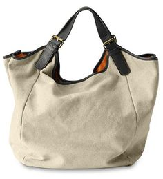 eddie bauer linen hobo bag with orange lining $89