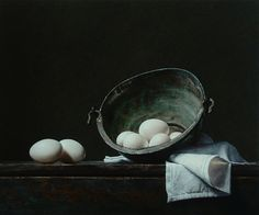 "Saatchi Online Artist: Roman Reisinger; Oil, 2010, Painting ""Still life with white eggs and oxidized kettle"""