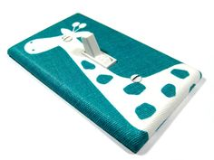 Emerald Turquoise with White Giraffe Light Switch by ModernSwitch