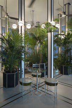 Home Decorators Collection Vanity Restaurant Interior Design, Cafe Interior, Interior Concept, Restaurant Ideas, Cafe Restaurant, Blue Garden Furniture, Outdoor Furniture, Fresco, Dark Interiors