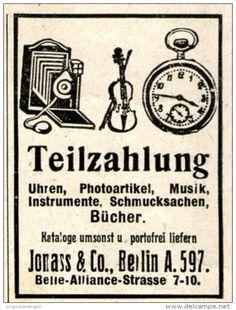 Original-Werbung/ Anzeige 1919 - KAMERA /MUSIKINSTRUMENTE / UHREN / JONASS - BERLIN - ca. 35 x 45 mm