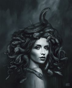 Medusa Kunst, Medusa Art, Medusa Gorgon, Medusa Painting, Medusa Tattoo Design, Greek Mythology Tattoos, Gothic Wallpaper, Beautiful Dark Art, Arte Cyberpunk