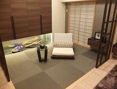和室コーディネート|広々としたリビングと緩やかに間仕切った「こもる」和室が格式高い印象に。