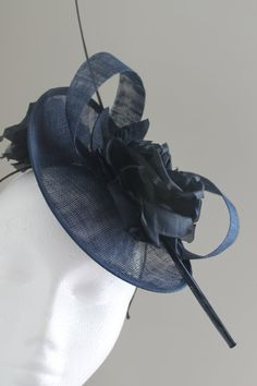 e05bf586525 Items similar to Navy Fascinator Ascot Hat on Etsy