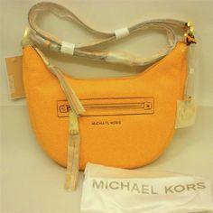 MICHAEL Michael Kors Rhea Zip Sun Yellow Leather Small Messenger X Body Bag NWT  #MichaelKors #MessengerCrossBody