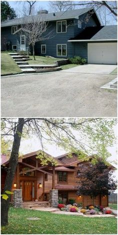 Home Renovation Exterior Split Foyer - With a bland exterior, sparse landscaping, and a blank white garage door, this home needed a facelift. - These facades went from ordinary to unforgettable. Home Exterior Makeover, Exterior Remodel, Bungalow, Style At Home, Split Level Exterior, Split Level Remodel, Split Foyer, Split Entry, Ranch Remodel