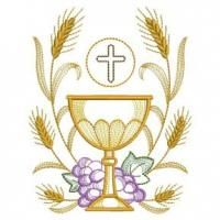 Celebrate the Eucharist with this set of inspirational designs depicting a chalice framed by golden wheat and violet grapes.