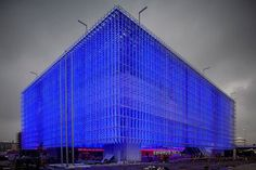 Shanghai Corporate Pavilion Nears Completion: (Shangai World Expo 2010) constructed from recycled CD jewel cases transformed into thousands of polycarbonate tubes lit up with LED lights.