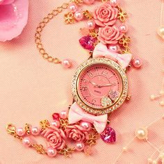 #pink #girly #watch #gems #roses #gold
