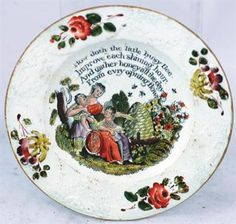 BEEHIVE?CHILDS PLATE. 6ins diam, c.1860?s (?) hand coloured transfer mother & children by beehiv