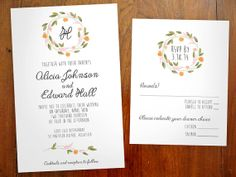 Printable Watercolor Flower Wreath Wedding Invitation Set by Eloquent Paper on Etsy - $20