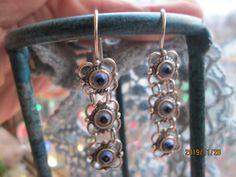 "Vintage Sterling Silver 925 3 Tier Eyeball Dangle Earrings, Weight 6.6 Grams, 1 3/4"" Long by TamisVintageShop on Etsy"