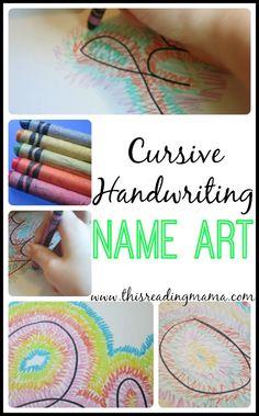 Cursive Handwriting Name Art ~ a fun handwriting art project using kids' NAMES   This Reading Mama