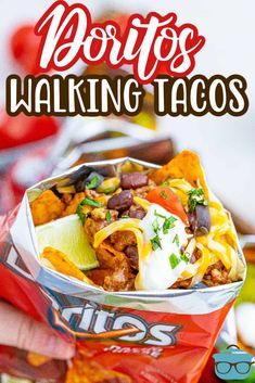 A fun hand-held meal, these Doritos Walking Tacos are so easy to assemble and perfect for any occasion! Mexican Snacks, Mexican Dishes, Mexican Food Recipes, Beef Recipes, Snack Recipes, Camping Recipes, Camping Hacks, Dinner Recipes, Cinco De Mayo