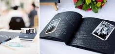 Have guests add a polaroid next to their guestbook message; really cute idea!