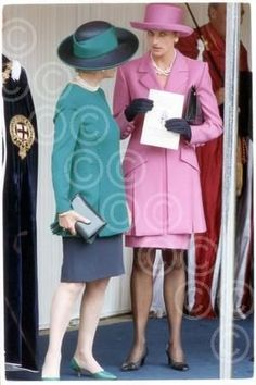 June 14, 1993:  Princess Diana with Duchess Katharine Kent at the Order of the Garter Ceremony, London.