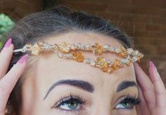 Bronze Flower and Glass Bead Wired Silver Headband by edenfashionlifestyle on Etsy