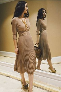 Size + Fit: - Material has stretch - V neck, Fit and flare, waist belt - US Size: / / - EUR Size: / / - Length: / - Bust: / - Waist: Lady Like, Cute Dresses, Vintage Dresses, Women's Dresses, Knit Dress, Dress Up, Pleated Midi Dress, Ballet, Modest Fashion