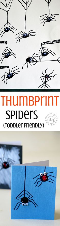 Fingerprint Spiders or Thumbprint Spiders, either way tons of fun for this easy anytime (But great at Halloween) SPIDER PARTY !