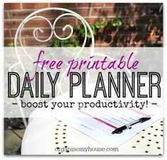 A one page printable daily planner that you can reuse time and time again to measure your productivity, track your TO DOs and other bits - invaluable!