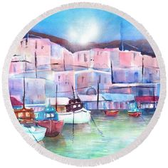 Greek Island Paros Naoussa Harbor Round Beach Towel by Sabina Von Arx. The beach towel is in diameter and made from polyester fabric. Coastal Bathroom Decor, Paros Greece, Harbor Beach, Relaxing Holidays, Island Beach, Greek Islands, Beautiful Artwork, Beach Towel, Color Show