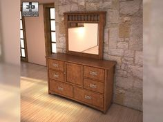 3D Model Ashley Colter Dresser Mirror c4d, obj, 3ds, fbx