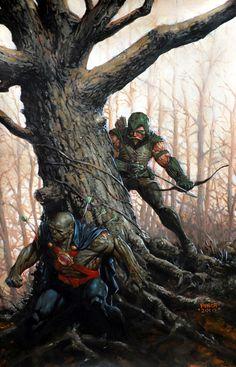 ArtVerso — David Finch - Green Arrow vs Martian Manhunter