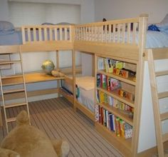 Triple Deck Bunk Bed. Love the book shelf and desk!.. What an awesome yet space conserving idea!! Great for younger kids.