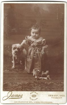 Vintage photo, baby with dog