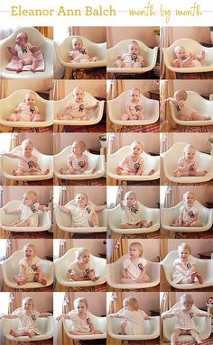 month by month picture in same chair to show growth
