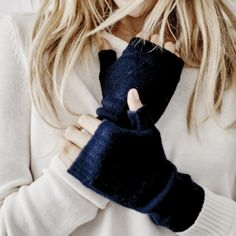 Cashmere Wrist Warmers - Navy from The White Company