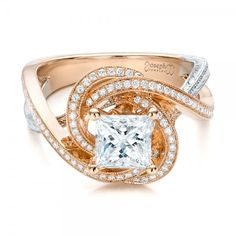 #Capri #Jewelers #Arizona ~ www.caprijewelersaz.com  ♥  Custom Rose Gold and Platinum Diamond Engagement Ring