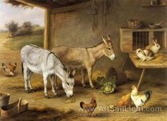 Edgar Hunt's oil painting Animals In A Barn 1922