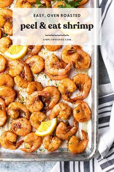 Seasoned with Old Bay, these peel and eat shrimp are a family favorite and cooked to perfection every time. Serve them straight from the oven while they're hot or let them chill and serve them cold like shrimp cocktail. Shrimp Recipes, Fish Recipes, Appetizer Recipes, Cooking Raw Shrimp, How To Cook Shrimp, Fish Dinner, Seafood Dinner, Shrimp In The Oven, Pesco Vegetarian