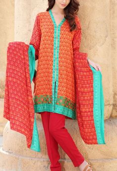 Buy Orange/Red Printed Viscose Linen Dress by Nishat 2015.