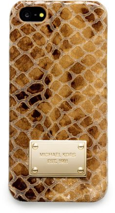 #Michael Kors -Michael Snake Print Leather Iphone 5 Cover