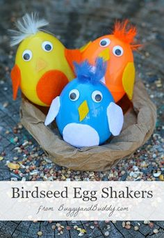 Baby Bird Egg Shakers made from plastic eggs and filled with birdseed- Sprinkle the birdseed outside when you're done! (Perfect Easter or spring craft for Kids!) ~BuggyandBuddy.com