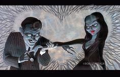 Addams Family GOMEZ and MORTICIA Valentine Art Print by BobLizarraga on Etsy https://www.etsy.com/uk/listing/55790320/addams-family-gomez-and-morticia