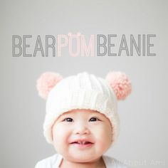 """Free crochet pattern for the """"Bear Pom Beanie""""!  Add some colourful pom poms for an adorable look!"""