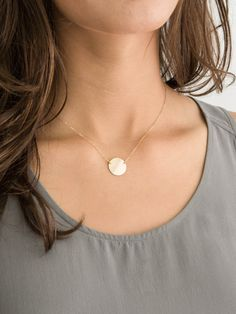 Circle Necklace. Blank Disk or Personalize with an Initial.