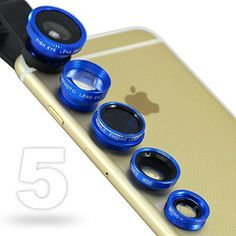 First2savvv JTSJ-5N1-03 blue mobile phone Universal 5 in 1 Clip Camera professional glass Lens Kit (fish eye, wide angle, macro, barlow and polarizer lens) for Acer ICONIA TAB W500 Series ICONIA TAB A500 Series ICONIA TAB A100 Series ICONIA TAB W501