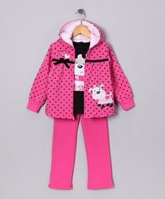 Take a look at this Dark Pink Dog Zip-Up Hoodie Set - Infant, Toddler & Girls by Young Hearts on #zulily today!