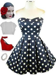 50s Style Navy w White Polka Dots Sweetheart Bust Strapless Pinup Sun Dress | eBay