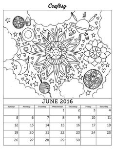Looking for your next project? You're going to love June 2016 Coloring Page Calendar by designer CraftsyBlog.