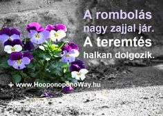Hálát adok a mai napért. A rombolás nagy zajjal jár. A teremtés halkan dolgozik. Ez a csend ereje. Növekedj a békéd csöndjében. Így szeretlek, Élet! Köszönöm. Szeretlek ⚜ Ho'oponoponoWay Magyarország ⚜