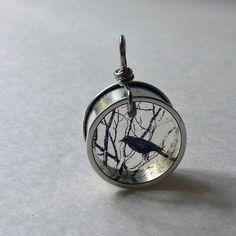 black crow on branch / raven resin pendant #jewellery #necklace
