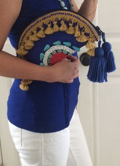 Clutch Purse- Ethnic, Tribal inspired. Embellished with seed beads, genuine stones, trims and tassels