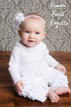 """This Lemon Loves Layette """"Peony"""" Romper features a ruffled neckline layers and matching ruffles on the lower portion of each leg. A little rosette at the waist is the perfect accent. This is a beautiful outfit to wear after the Christening! Trendy Baby Clothes, Cute Baby Girl Outfits, Toddler Outfits, Baby Boutique Clothing, Kids Boutique, Fancy Dress For Kids, Christening Outfit, Baby Girl Fashion, Baby Kids"""
